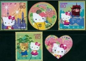 日本信销邮票-问候祝贺G40-2010 kitty猫 凯蒂猫 5全新