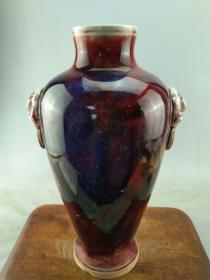 钧瓷双耳虎头瓷瓶B0677.