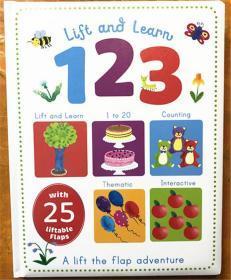 尾单 精装 纸板翻翻书   lift and learn 123