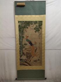 老画新裱精品大四尺中堂画,崔白花鸟,纯手绘之作,实物拍摄,一物一图。