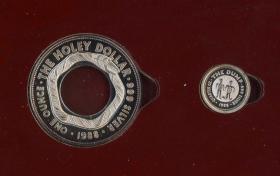 闲山集推荐世界银币收藏——澳大利亚1988年土著图案子母套环精制银币  原卡封装(永久保真)