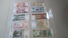 外国纸币十张,全新保真十张!