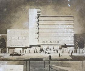民国老上海建筑设计图泛银照片2张一起
