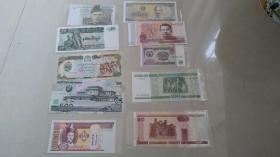 《2》外国纸币十张,全新保真十张!