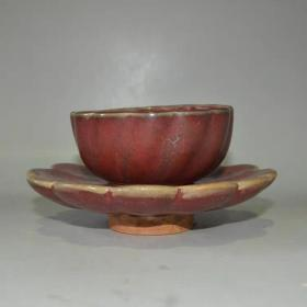 钧窑红釉茶盏茶托