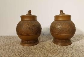 清代 紫砂茶叶罐一对 全品包老 雕刻精细