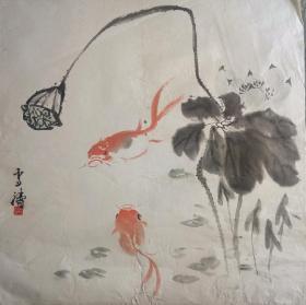 放漏!王雪涛精品国画一件  两只小金鱼栩栩如生 淡墨写意笔笔见精神 印款透纸背 越是普通几笔越能体现画家功力……