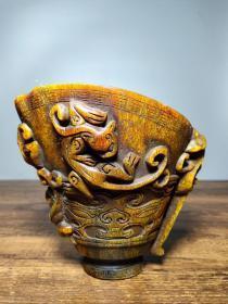 珍藏老牛角雕刻兽面螭龙牛角杯摆件高14厘米长15厘米宽11.5厘米,重890克