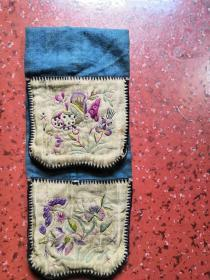 清末民国大官文人刺绣布袋,姹紫嫣红,精微传神,极为雅致。