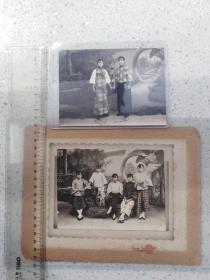 民国穿倒大袖的美女,两张银盐老照片