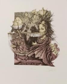 乌克兰 乌里扬娜•图尔琴科Ulyana Turchenko石版 外国藏书票版画原作