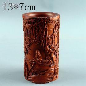 黄杨木雕件办公用品人物笔筒摆件客厅摆件雕刻