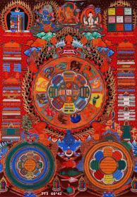 【尼泊尔精品唐卡】文殊菩萨九宫八卦图,画面尺寸约:60X42cm。