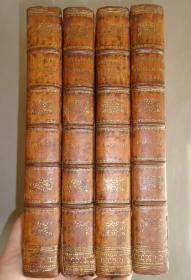1806年Works of Oliver Goldsmith  《哥德史密斯威作品集》(含《威克斐牧师传》) 多张绝美铜版画插图 全小牛皮豪华装桢 4册全 品佳