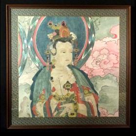 日本回流 佚名精品佛像图 四尺斗方旧框