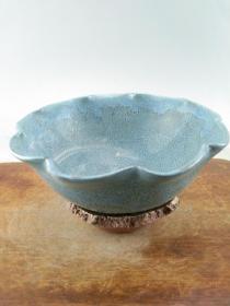 赔钱处理乡下收来的蓝釉老瓷碗B0790