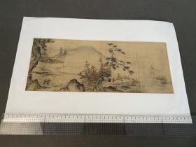 山水屏风画  (法学博士 井上辰九郎氏所藏) 画芯尺寸400x160mm