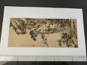 山水屏风画  (尾州 天野三郎氏所藏) 画芯尺寸393x170mm
