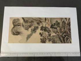 山水屏风画  (摄津 山田三郎氏所藏) 画芯尺寸393x165mm