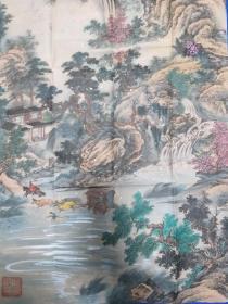 智恩居士。国画软片。130厘米68厘米。十品。。宣纸边有盖章。北京齐白石艺术研究会