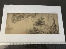 山水屏风画  (东京久米伊豫太郎氏藏) 画芯尺寸405x168mm