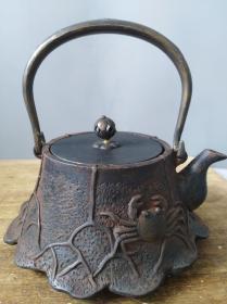 日本龟文堂老铁壶茶器回流,铁器茶道,