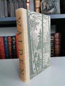Walden 《 瓦尔登湖》 thoreau 梭罗经典名著 heritage press 1939 年老版本 布面精装 内衬Thomas Nason 精美木刻版画插图
