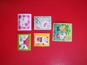 外国邮票 日本信销邮票卡通kitty猫5枚 (货号:乙06-1)