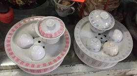 几十年前的潮州工夫茶茶壶三套,红色是潮州老三厂
