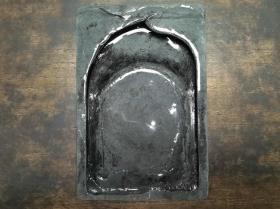 民国时期传世文房石砚台手工雕刻荷叶白鹭纹饰歙砚