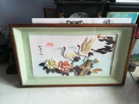 【牡丹双鹤】贝雕画