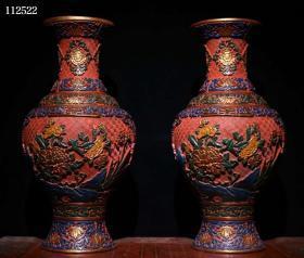 古玩收藏大尺寸剔红漆器彩绘玉堂富贵瓶花瓶一对摆件102762