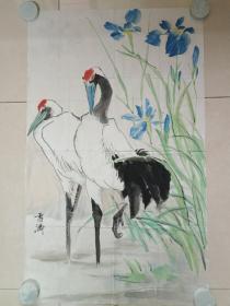 雪涛绘画《双鹤图》七八十年代(纸本尺寸:96×58cm)
