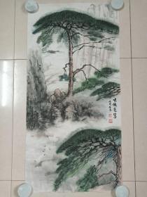 严家焕水墨国画《啸傲苍穹》立轴2006年冬(国画名家、纸本尺寸:95 ×47 cm)