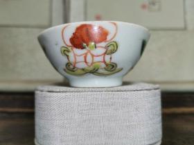 民国传世民俗瓷器粉彩福寿花卉纹饰酒盅茶杯