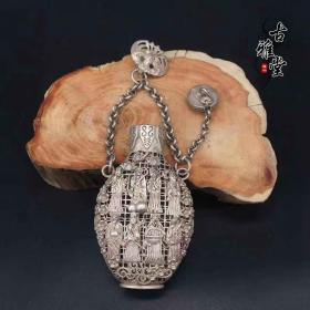古董古玩杂项仿纯银苗银藏银鎏银八仙过海纯铜香囊镂空香包挂件