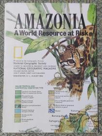 National Geographic国家地理杂志地图系列之1992年8月 Amazonia 亚马逊地图