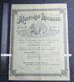 清代1902年的签发的外国印第安纳州结婚证书一张,教会神父征婚新人交换戒指图案,大幅34.2X24.8厘米