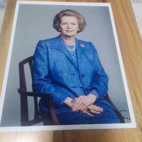 英国前首相铁娘子撒切尔夫人亲笔签名照,附证书