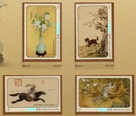 台湾邮政用品、邮票、艺术古画名画,特629专629清郎世宁古画邮票全张16套