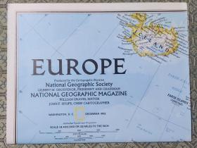 National Geographic国家地理杂志地图系列之1992年12月 Europe 欧洲地图