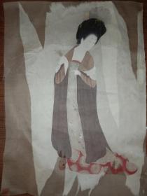 手绘真迹国画:无款绢本人物托片(衬纸被撕掉一些)