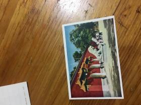 58年明信片,北京少年宫,加帖一枚57年邮票 纪44.5--2