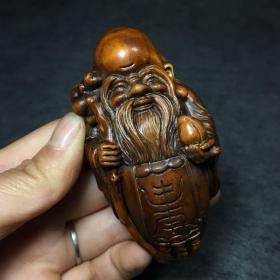 早期黄杨木雕刻寿星手把件摆件