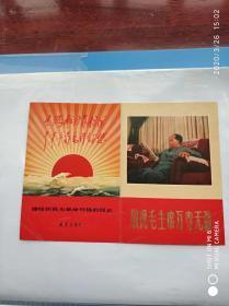 ①少见《敬祝毛主席万寿无疆》画片——赠给积极为革命写稿的同志《铁道兵报社》——可展开,可折叠(尺寸18✘13cm)内容:毛主席照,林彪题词——(位置:6-208)