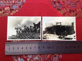 抗战史料  抗战时期拍摄的珍贵老照片!鬼子侵略上海闵行镇,利用军犬搜敌,大场镇中国军队的碉堡!银盐老照片2张,品相一流,十分难得!