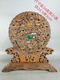 黃楊木擺件鑲翡翠,九龍戲水,品相如圖,純手工雕刻,包漿濃厚,保存完好。