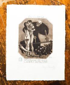稀少,签名藏书票《 裸体,骷髅  》 1915年出版,17 x 21,5 cm