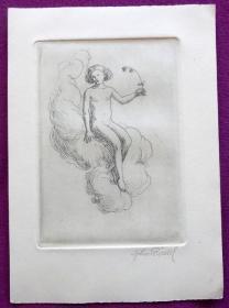稀少,签名藏书票《 年轻的裸体女孩  》 1920年出版,15,5x11 cm
