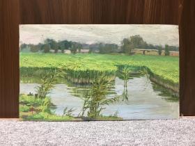 著名油画大师-李宗津(1916-1977),油画家及美术教育家, 1965年油画风景作品一幅(纸本,画心尺寸为40×24cm )YJH-YH-003